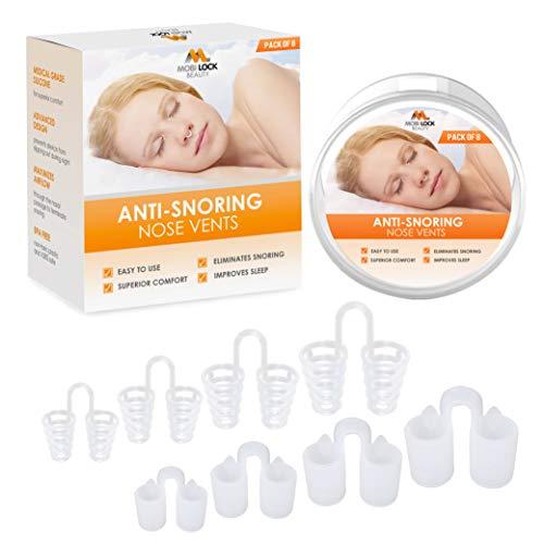 Dilatador nasal de alivio respiratorio - Paquete de 8 respiraderos nasales de silicona de grado médico, antirronquidos - Solución de ronquidos simple para respiradores nasales - de Mobi Lock Beauty
