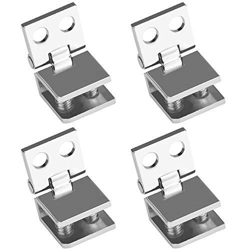 GOLRISEN Bisagras para Cristales de 5 a 8 mm, 4 unids Bisagras para Puertas de Cristal, Bisagras de Aleación de Zinc para Muebles, para Puertas de Cristal de Vitrina de Madera/Estantería/Armario