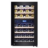 Kalamera Weinkühlschrank 2 Zonen für 45 Flaschen,120Liter,Kompressor,Temperaturzonen 5-10°C/10-18°C,Schwarz,KRC-120BFG