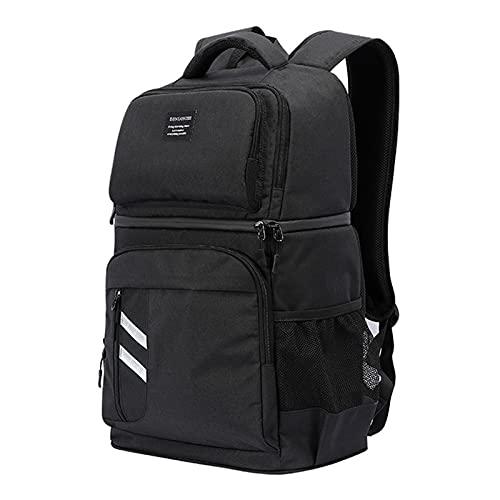 KUKU 32L Oxford Big Cooler Bag Thermo Lunch Picnic Box Mochila Fresca Aislada Bolsa De Hielo Bolsas De Hombro Térmicas Portadoras Frescas,Negro