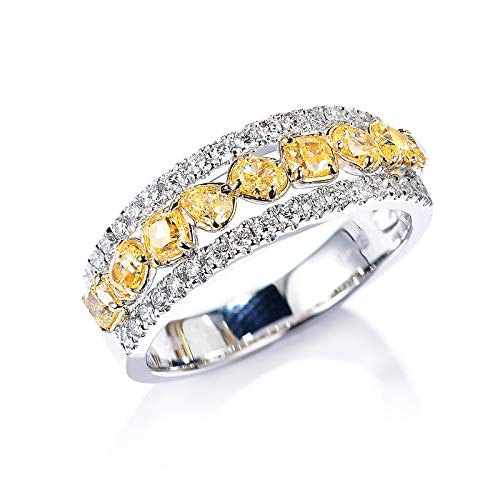Aeici Anillo Oro amarillo 18k & Oro blanco 18k, Anillos Oro Diamante Diamante 0.7ct, Irregular, Talla 22