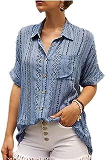 TT WARE Women Casual Print Wooden Button Summer Blouse-Blue-5XL