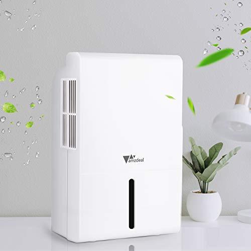 amzdeal Deumidificatore Ambiente Casa, 1.5L Deumidificatore Portatile con Spegnimento Automatico e Indicatore LED,...