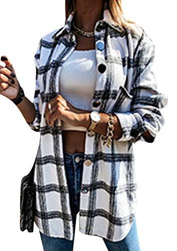 YMING Damen Winter Langarm Karobluse Plaid Lang Hemd Mode Boyfriend Freizeithemd E-Schwarz S