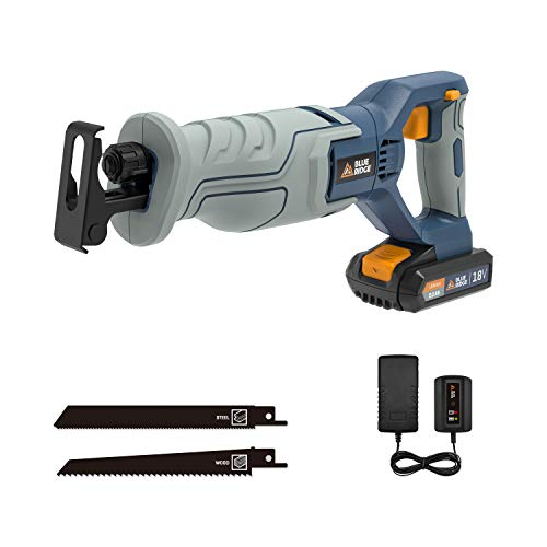 Reciprocating Saw, BLUE RIDGE 18V Cordless Sabre Saw with 2.0Ah Battery, 1 Hour Quick Charge, 0-3000RPM Variable Speed, 20mm Stroke Length, Tool Free Blade Change for Wood and Metal Cutting
