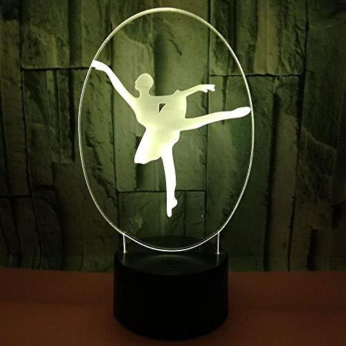 Lámpara de ilusión 3DLuz nocturna Bailarina de ballet Los mejores regalos para niños, familiares, amigos, cumpleaños y San Valentín USB7 colores(control remoto)
