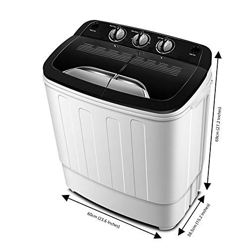 Portable Washing Machine TG23 - Twin Tub Washer Machine with 7.9lbs Wash and 4.4lbs Spin Cycle Compartments by Think Gizmos