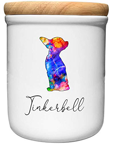 Cadouri Keramik Leckerli-Dose Chihuahua » personalisiert mit Name deines Hundes «┊Snackdose Keksdose Aufbewahrungsdose┊mit Holzdeckel