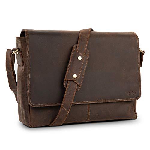 TALED® Premium Messenger Bag Herren braun - Laptoptasche Leder mit 15,6 Zoll - Inkl. kostenloses Schulterpolster - Hochwertige Ledertasche Herren im Vintage Erscheinungsbild - Uni Tasche, Arbeit, Schule