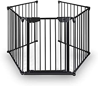 Teekland Baby Gate,Child Safety gate,Baby Extra Wide gate,Baby gate for Fireplace,Baby Play Yard 5 Panels for Pet/Toddler/Dog/Cat/Christmas Tree (Black)
