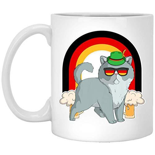 Exotic Shorthair Cat Beer Oktoberfest Prost German Flag 11 oz. White Mug