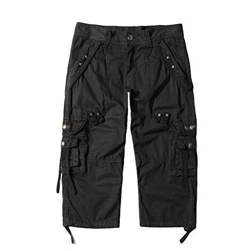 AYG Cargo 3/4 Hose Herren Bermuda Cargo Shorts Vintage Männer Capri Kurze Sommerhosen (Schwarz, 34)