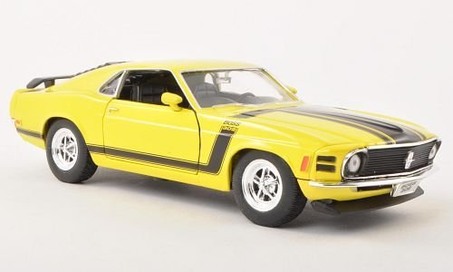 Ford Mustang Boss 302, gelb, 1970, Modellauto, Fertigmodell, Welly 1:24
