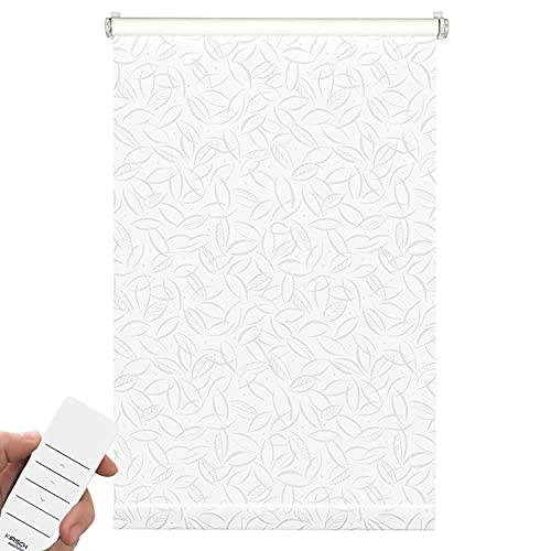 Kirsch Innovation Elektrisches Design Rollo Easyfix ohne Bohren mit Akku – Dekor Sonnenschutzrollo lichtdurchlässig Elektrorollo (60x150 cm (L x B), Jahreszeiten)
