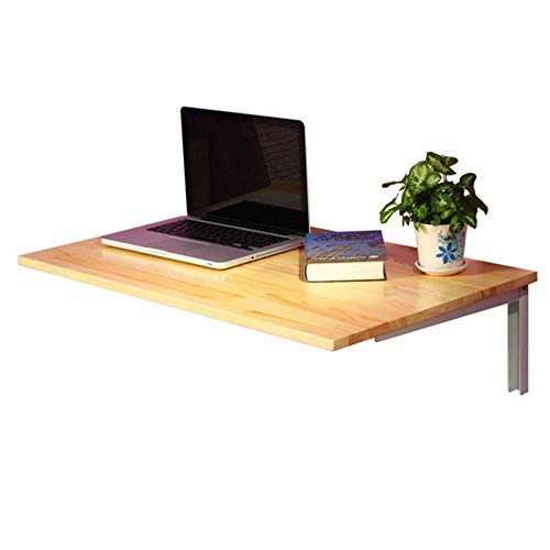 GAXQFEI Wall-Mounted Table Laptop Stand Desk Study Table Kitchen Countertop Metal Bracket, 2 Colors, 2 Sizes,Wood Color,80 * 50Cm