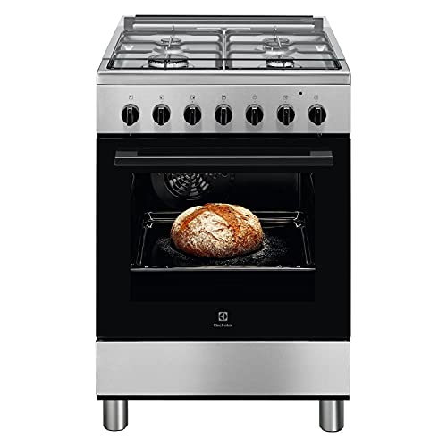 Cocina de gas de 4 fuegos con horno eléctrico 60 x 60 cm inoxidable