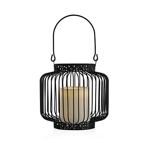 Pauleen Lantern LED kaars flakkereffect warmwit outdoor lantaarn deco zwart wit IP44 spatwaterdicht metaal/kunststof voor tuin en balkon