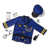 Melissa & Doug Police Officer Role Play Costume Dress-Up Set (8 pcs) Blue, 17.5