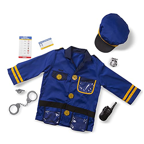 """Melissa & Doug Police Officer Role Play Costume Dress-Up Set (8 pcs) Blue, 17.5"""" x 24"""" x 0.75"""" Packaged"""