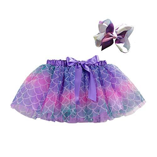 Kinder Mädchen Kostüm Kleidung Set Party Tanz Ballett Spleiß Regenbogen Tüll Rock + Bogen Haarnadel, Violett-2, 5-8 Jahre