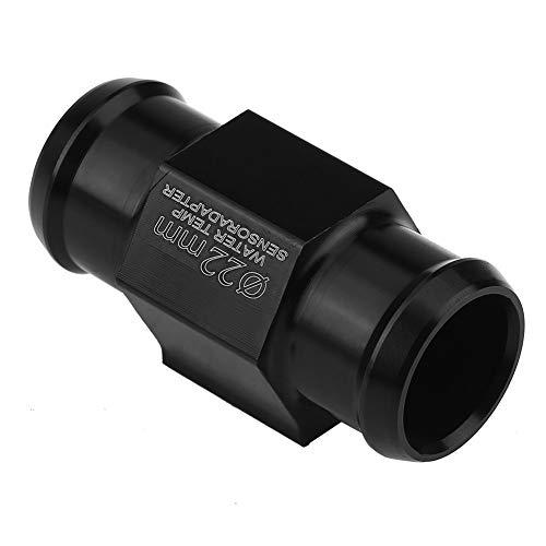 Sensor universal de tubería de temperatura del agua para motocicleta de 18/22 mm, adaptador de manguera de radiador de calibre de aleación de aluminio CNC (negro)(22mm)