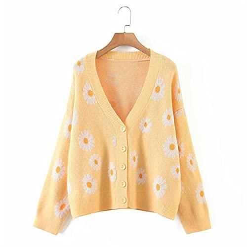 cárdigan para mujer Modelo de flores for mujer de manga larga ropa de punto suéter con cuello en V cuello de punto de punto cárdigan de punto Suelto y cómodo ( Color : Yellow , Size : One Size )