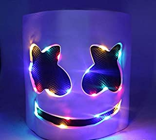 LED MarshMello DJ Mask Full Head Helmet Cosplay Marshmallow Party Music Prop