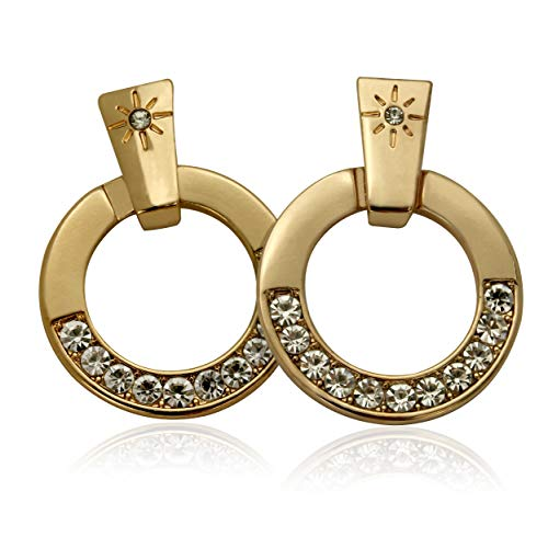 T Tahari Gold Link Post Earrings with Crystals