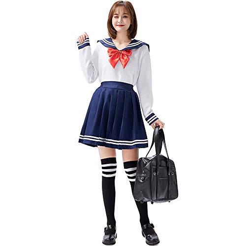 UNiiyi Vestito da Marinaio da Donna Vestito da Uniforme Scolastica per Ragazza Giapponese Anime con Sciarpa Camicia a Maniche Lunghe Mini Gonna a Pieghe