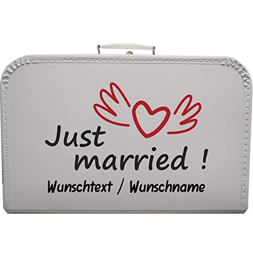 Hochzeitskoffer Just Married mit Wunschtext, Pappkoffer mit Trim Koffergröße 45 x 30 x 11,5 cm, Farbe weiß