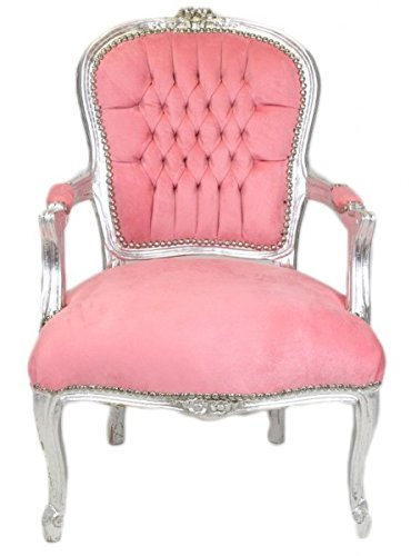 Casa Padrino Barock Salon Stuhl Baby Rosa/Silber - Barock Antik Stil Möbel