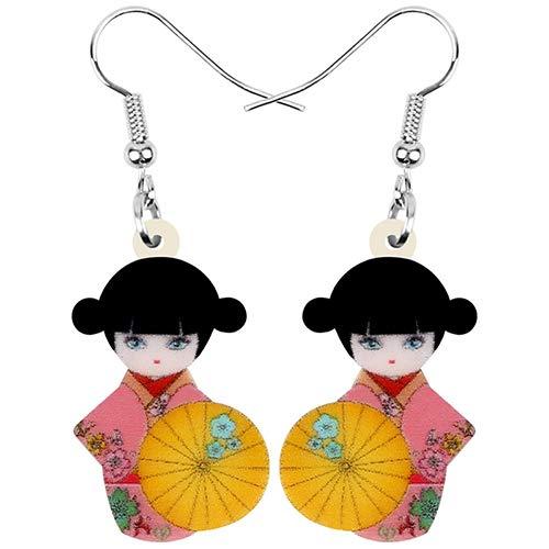 NA - Kimono acrílico para niña, muñeca, sombrilla, pendientes, joyas, decoración para mujeres y niñas, rosa