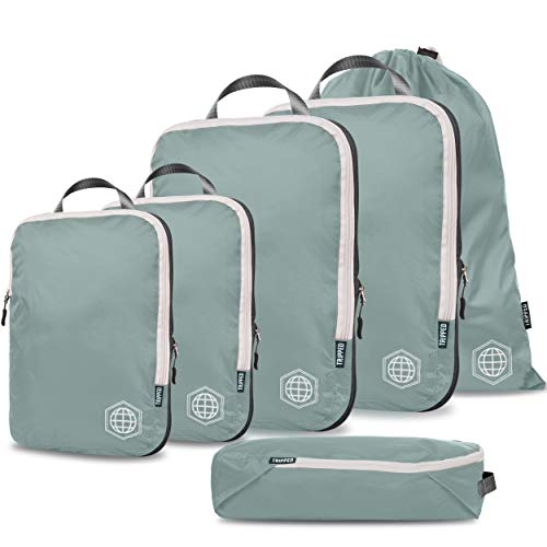 Compression Packing Cubes for Travel - Luggage and Backpack Organizer Packaging Cubes for Clothes (Dusty Teal and White, 6Piece)