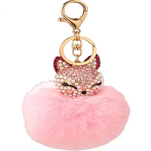 XinLuMing Llavero del placher, Diamante Tachonado de Color de Zorro con Forma de Conejo Colgante de Felpa Regalos (Color : Pink)