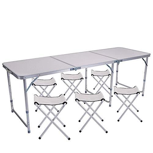 String Lights Klapptisch 4FT tragbare verstellbare Höhe Camping Tisch Tragbarer Indoor- und Outdoor-Picknick-Gastronomie Barbecue Tisch mit Griff (Color : 6ft+6chairs)