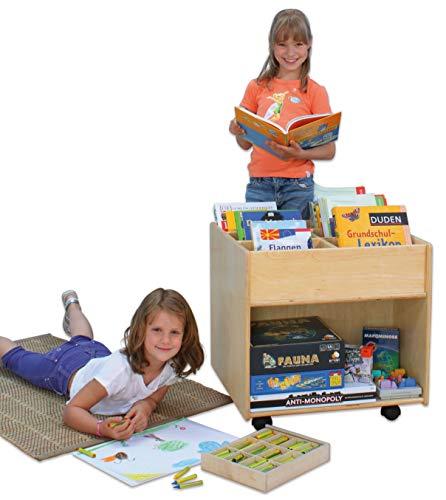 Flexeo 85622 - Bücherregal Buch-Mobil Holz auf Rollen 58,5 x 60 x 60 cm - Kinder-Buchbox...