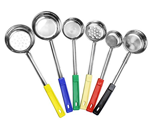 Portion Control Serving Spoons 6Piece Ladle Set w 1/4 Cup 1/2 Cup 3/4 Cup amp 1 Cup 2 4 6 8Ounce amp Slotted 1/2 amp 1 Cup Utensils/Spoodles