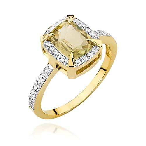 Women's Ring 585 14 Carat Yellow Gold Genuine Zultanite Gemstone Diamonds Diamonds