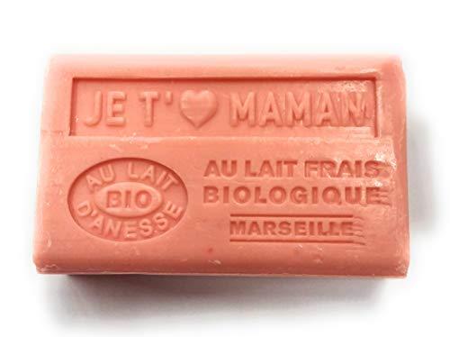 SAVON AU LAIT D'ANESSE BIO - MESSAGE JE T'AIME MAMAN - SAVON DE MARSEILLE DE 125 G - INSCRIPTION EN RELIEF - PRODUCTION FRANCAISE