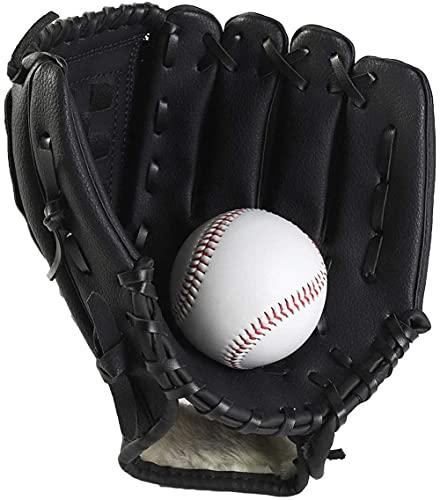CXING Guante de béisbol, Guante de Béisbol para Niños y Adultos con 1 Pelota Blanda, Guante de Béisbol de Cuero PU, Guantes Deportivos de Softbol (negro, 11,5 pulgadas)