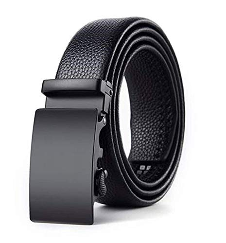 ZORO PU Leather Adjustable airlock ratched Buckle Belts Fashion Waist belt For Casual and Formal - Belt For Men, leather belt for men formal branded,gents belt, formal belt for men (Black 51)
