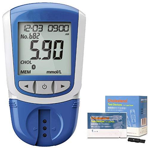 ZZYYZZ Cholesterin Messgeräte, 5-in-1-Messung (HDL, LDL, Gesamtcholesterin, Triglyceride), einschließlich 50 Teststreifen