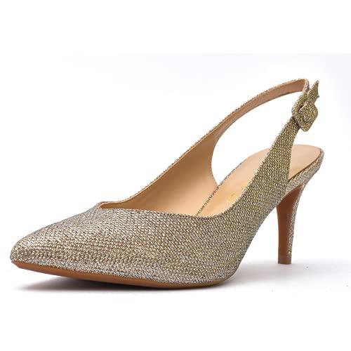 Tacones de Mujer - Zapato de Salón Destalonado - Tacón Aguja de 5,5 cm - Cierre Ajustable con Hebilla (Dorado, Numeric_40)