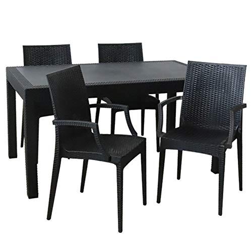 ガーデンテーブル90×150cm・チェア4脚セット LA・TAN ひじ付き (C362-5A-S2)