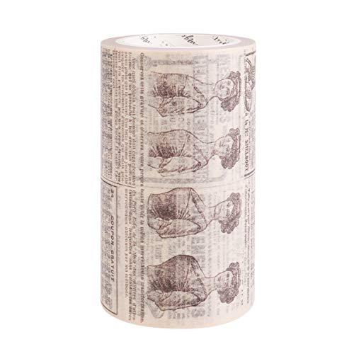 SUPVOX Cinta Washi Vintage Cinta de Papel Adhesiva Ancha Cinta Adhesiva Decorativa Washi para Planificador Cuaderno Diario Bullet Journal Scrapbooking Periódico Inglés