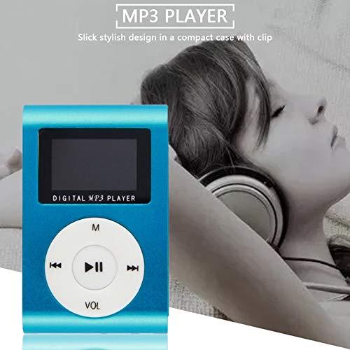Portable Clip de Metal Reproductor de música MP3 Mini Reproductor de música Multimedia Moda 2-16GB Mp3 Mp4 Player 1.8 Tarjeta TF de Soporte - Azul