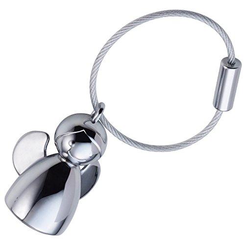 TROIKA ANGELINA – KR17-32/CH – Schlüsselanhänger – Schutzengel, Schutzengelchen – Metallguss– glänzend – verchromt – silber – TROIKA-Original
