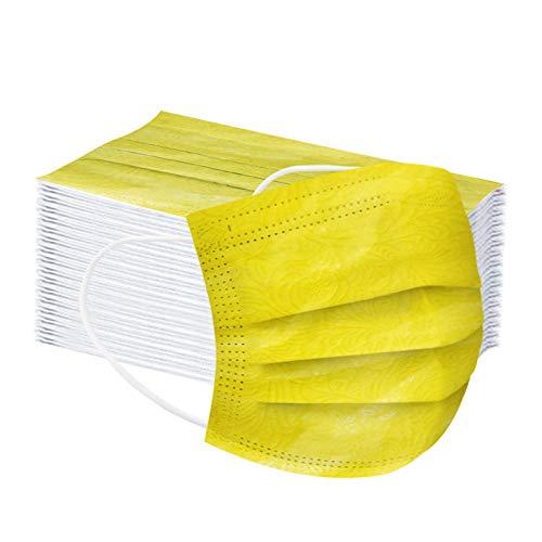 FIRSS 50 Stücke Einweg-Schals, Gelb Mund und Nasen_Schutz, 3 lagig-Protect, Prägung Weich Gesichts Multifunktional Tuch, Atmungsaktiv Bandana mit Ohrband