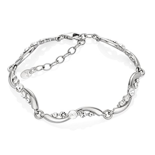 LillyMarie Donne Bracciale Argento 925 Swarovski Elements Originali Onda Lunghezza Flessibile Scatola Regalo in Legno di Alta Qualità Bridal Jewelry