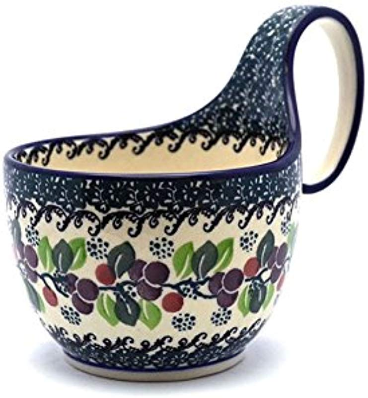 Polish Pottery Loop Handle Bowl Burgundy Berry Green